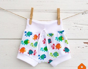 Beach Baby Clothes, Rainbow Fish Baby Shorts, Shorties, Unisex Baby Shorts, Diaper Cover, Baby Bloomers, Toddler Shorts, Summer Shorts