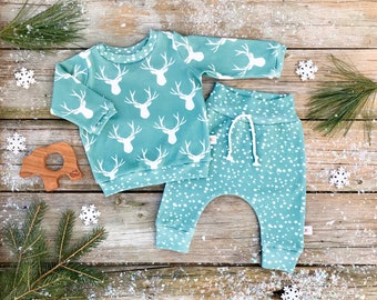 Deer Woodland Baby Sweatshirt Set / Winter Kids Pullover / Unisex Kids / Toddler Shirt / Baby Pants / Snowflake Kids Leggings