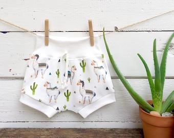 Llama Kids Shorts, Organic Baby Shorts, Shorties, Llamas and Cactus Baby Shorts, Toddler Shorts, Unisex Baby Clothes, Summer Baby Shorts