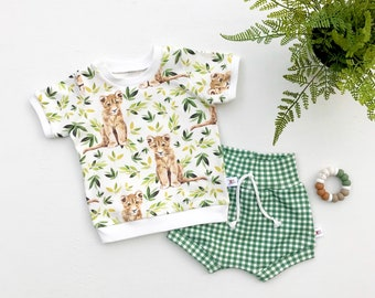 Lion Cub Baby Outfit, Safari Kids Outfit, Unisex Baby Shirt and Shorts Set, Baby Gift Set