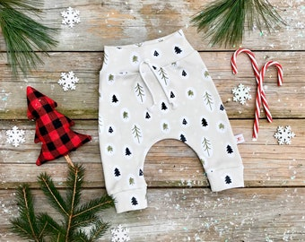 Woodland Organic Baby Pants / Christmas Kids Pants / Unisex Kids / Baby Leggings / Toddler Pants