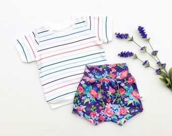 Purple Floral Baby Outfit, Easter Kids Outfit, Rainbow Stripe Shirt and Floral Shorts Set, Baby Girl Clothes