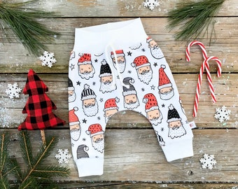 Santa Claus Kids Pants / Scandinavian Winter Kids Pants / Christmas Clothing / Organic Baby Leggings / Unisex Kids Pants