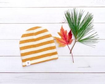 Mustard Stripe Baby Hat, Mustard and Cream Striped Baby Beanie, Gender Neutral Baby Hat, Unisex Baby Hat, Baby Boy Hat, Baby Girl Hat