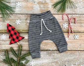 Black Stripe Baby Pants / Christmas Kids Pants / Unisex Kids / Black and White Baby Leggings / Toddler Pants