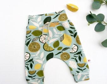 Lemons Kids Pants Leggings, Vegetable Baby Harem Pants, Organic Baby Pants, Baby Leggings, Summer Baby Pants, Kids Leggings, Unisex Baby