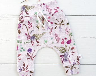 Floral Baby Leggings, Spring Kids Pants, Organic Baby Pants, Purple Floral Pants, Baby Girl Pants, Baby Harem Pants, Baby Girl Clothes