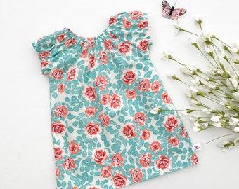 Easter Dress, Girls Floral Dress, Floral Baby Dress, Peasant Dress, Girl Clothes, Cotton Spring Dress
