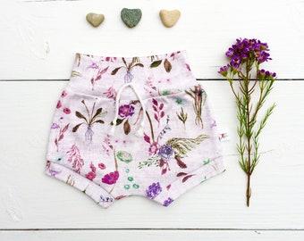Floral Kids Shorts, Organic Baby Shorts, Spring Kids Shorts, Purple Floral Baby Shorts, Wildflowers Baby Shorts, Shorties, Baby Girl Clothes