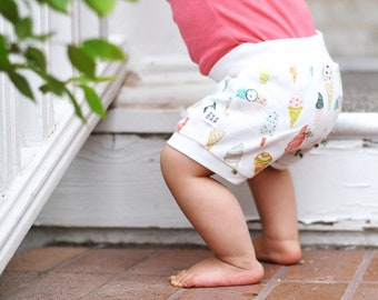 Ice Cream Kids Shorts, Organic Baby Shorts, Baby Girl Clothes for Summer