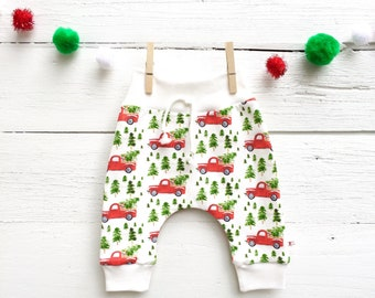 Christmas Trucks Kids Pants, Organic Baby Leggings, Christmas Gift for Kids, Winter Kids Pants, Baby Joggers, Harem Pants