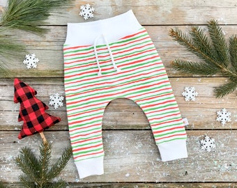 Christmas Baby Pants, Red and Green Stripe Baby Pants, Organic Striped Baby Leggings