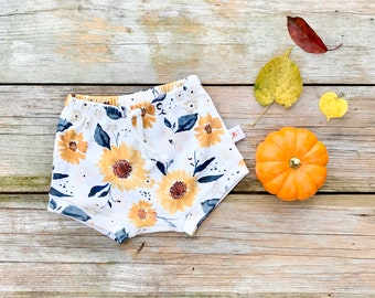 Autumn Sunflower Baby Bummies, Fall Floral Baby Shorts, Shorties, Diaper Cover, Bloomers