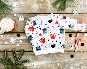 Hot Cocoa Christmas Organic Baby Pullover / Winter Kids Sweatshirt / Kids Top / Toddler Shirt