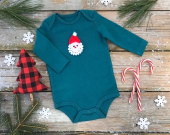 Santa Bodysuit / Unisex Organic Bodysuit / Evergreen Winter Kids Bodysuit / Long Sleeve Bodysuit / Short Sleeve Bodysuit