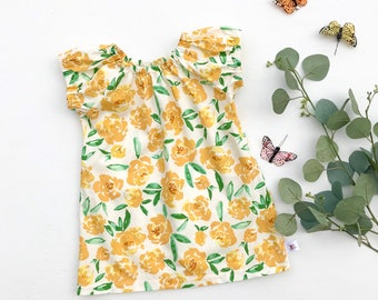 Girls Floral Dress, Yellow Floral Baby Dress, Peasant Dress, Girl Clothes, Cotton Summer Dress