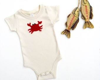 Organic Bodysuit, Natural Baby Bodysuit, Red Crab Bodysuit, Newborn Baby Clothes, Unisex Baby Bodysuit