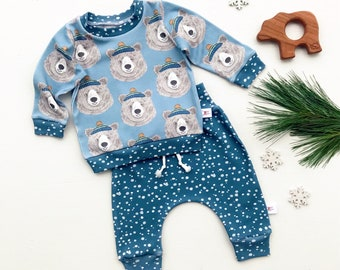 Bear Woodland Baby Sweatshirt Set / Blue Bears Pullover, Winter Kids Pullover / Baby Boy Outfit / Toddler Shirt / Snowflakes Baby Pants