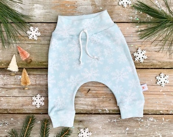 Snowflake Baby Pants / Christmas Kids Pants / Unisex Kids / Mint Green Baby Leggings / Toddler Pants