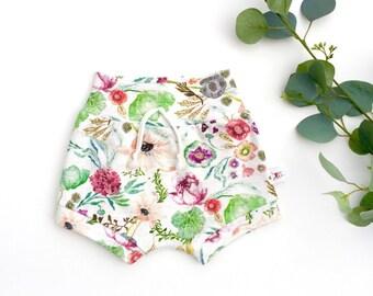 Wildflowers Kids Shorts, Organic Baby Shorts, Spring Kids Shorts, Floral Baby Shorts, Shorties, Baby Girl Clothes, Summer Kids Shorts