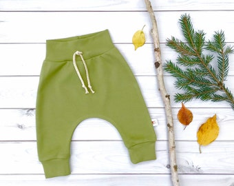 Olive Green Organic Baby Pants, Unisex Kids Pants, Fall Kids Pants, Abocado Green Kids Pants, Solid Kids Pants