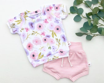 Floral Kids Shirt / Pink and Purple Floral Baby Shirt / Pink Stripe Shorts / Baby Girl Clothes
