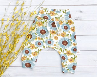Sunflower Baby Pants, Floral Baby Leggings, Fall Kids Pants, Baby Girl Clothes, Gift Under 30