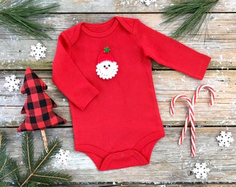 Santa Bodysuit / Unisex Organic Bodysuit / Red Winter Kids Bodysuit / Long Sleeve Bodysuit / Short Sleeve Bodysuit