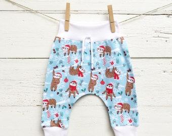 Christmas Sloth Kids Pants, Winter Kids Pants, Unisex Kids Pants, Sloth Leggings, Baby Pants, Harem Pants, Christmas Clothes, Baby Joggers