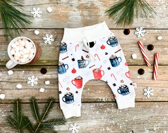 Holiday Hot Cocoa Organic Baby Pants / Christmas Kids Pants / Unisex Kids / Baby Leggings / Hot Chocolate Toddler Pants