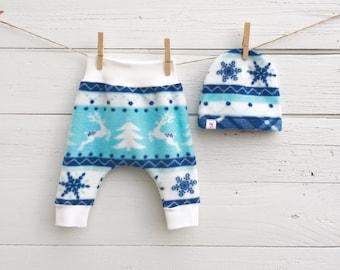 Reindeer Baby Pants, Fleece Baby Harem Pants, Snowflakes Baby Pants, Blue Baby Beanie, Christmas Baby Leggings, Fair Isle Baby Pants