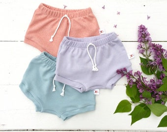 Bummies, Solid Color Baby Shorts, Shorties, Diaper Cover, Bloomers, Peach, Lavender, Mint