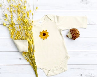 Sunflower Organic Bodysuit, Fall Bodysuit, Long Sleeve Bodysuit, Short Sleeve Bodysuit, Newborn Baby Clothes
