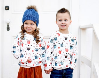 Christmas Kids Sweatshirt / Organic Baby Pullover / Winter Kids Top / Hot Chocolate Toddler Shirt / Hot Cocoa Shirt