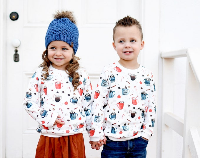 Featured listing image: Christmas Kids Sweatshirt / Organic Baby Pullover / Winter Kids Top / Hot Chocolate Toddler Shirt / Hot Cocoa Shirt