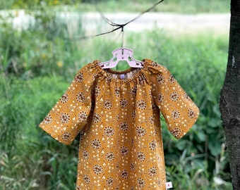 Fall Vintage Floral Dress, Girls Cotton Dress, Fall Baby Dress, Peasant Dress