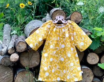 Fall Floral Dress, Back to School Mustard Yellow Girls Cotton Dress, Fall Baby Dress, Peasant Dress