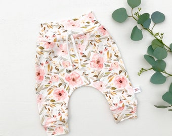 Pink and Sage Green Floral Baby Pants, Floral Kids Pants, Floral Baby Leggings, Baby Girl Clothes, Gift Under 30