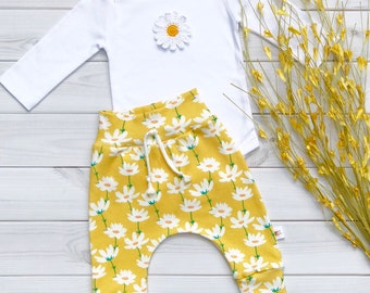 Daisy Bodysuit, Organic Bodysuit, Fall Bodysuit, Long Sleeve Bodysuit, Short Sleeve Bodysuit, Newborn Onesie, Baby Girl Clothes