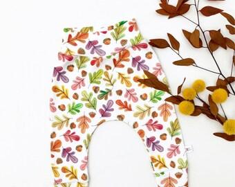 Kids Fall Leaves Pants, Unisex Leggings, Baby Harem Pants, Organic Baby Pants, Autumn Leaves Baby Leggings, Fall Baby Pants, Kids Leggings