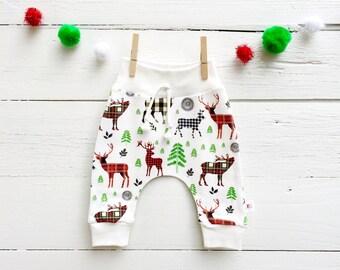 Christmas Kids Pants, Organic Baby Leggings, Plaid Deer Pants, Winter Kids Pants, Woodland Harem Pants, Baby Joggers, Scandinavian Kids Pant