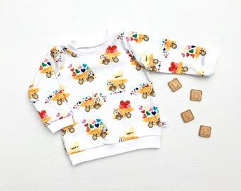 Valentine's Day Baby Shirt / Handmade Gifts for Baby / Tonka Trucks Kids Shirt / Organic Boy Clothes / Toddler Shirt