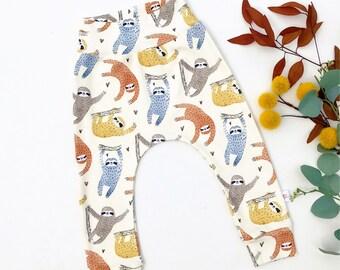 Sloth Kids Pants, Sloth Baby Leggings, Organic Baby Pants, Burnt Orange Kids Pants, Kids Harem Pants