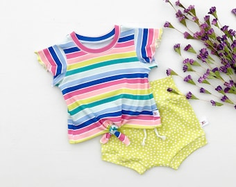 Rainbow Stripe Tie Front Girls Top, Ruffle Sleeve Baby Shirt, Lime Green Polka Dot Baby Shorts, Knotted Front Baby Shirt, Kids Clothing