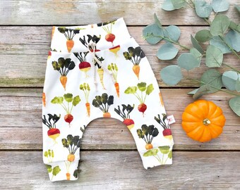 Organic Baby Leggings, Unisex Kids Pants, Carrots Baby Leggings, Vegetable Baby Pants, Burnt Orange, Gift Under 30