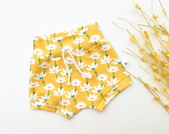 Yellow Daisy Baby Shorts, Summer Kids Shorts, Baby Girl Clothes