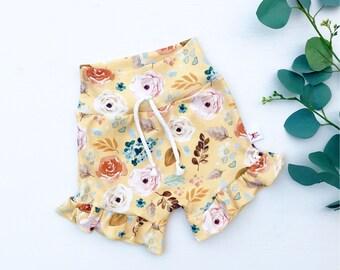 Yellow Floral Ruffle Baby Shorts, Summer Kids Shorts, Ruffled Baby Shorts, Baby Girl Clothes