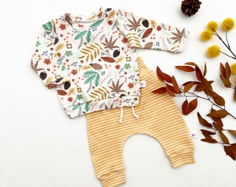 Fall Leaves Baby Outfit, Gender Neutral Kids, Long Sleeve Baby Shirt, Mustard Stripe Baby Pants, Unisex Kids