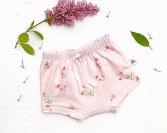 Blush Pink Baby Bummies, Organic Pink Floral Baby Shorts, Shorties, Diaper Cover, Floral Bloomers