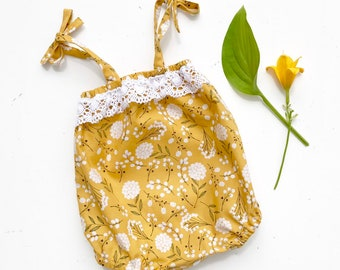 Yellow Floral Baby Bubble Romper, Playsuit, Baby Jumper, Baby Girl Clothes, Mustard Floral Romper